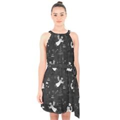 Christmas pattern Halter Collar Waist Tie Chiffon Dress