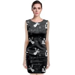 Christmas pattern Sleeveless Velvet Midi Dress