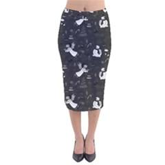 Christmas pattern Velvet Midi Pencil Skirt
