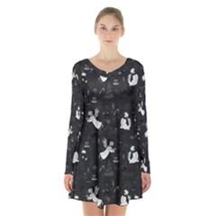 Christmas pattern Long Sleeve Velvet V-neck Dress