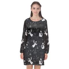 Christmas pattern Long Sleeve Chiffon Shift Dress