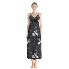 Christmas pattern Button Up Chiffon Maxi Dress