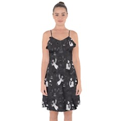 Christmas pattern Ruffle Detail Chiffon Dress