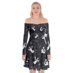 Christmas pattern Off Shoulder Skater Dress