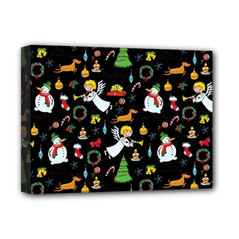 Christmas Pattern Deluxe Canvas 16  X 12   by Valentinaart