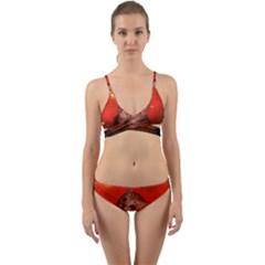 Cute Little Kitten, Red Background Wrap Around Bikini Set