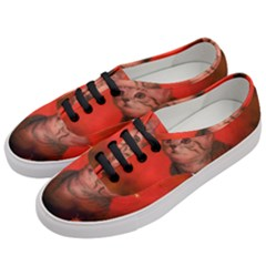 Cute Little Kitten, Red Background Women s Classic Low Top Sneakers by FantasyWorld7