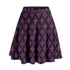 Circles3 Black Marble & Purple Leather High Waist Skirt by trendistuff