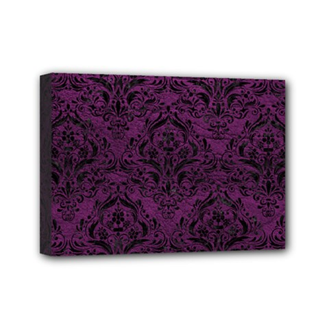 Damask1 Black Marble & Purple Leather Mini Canvas 7  X 5  by trendistuff