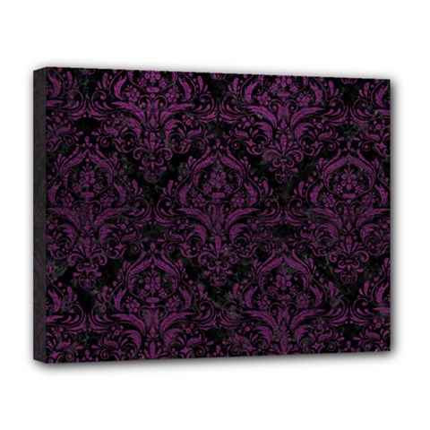 Damask1 Black Marble & Purple Leather (r) Canvas 14  X 11  by trendistuff