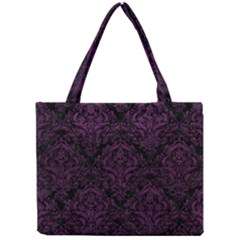Damask1 Black Marble & Purple Leather (r) Mini Tote Bag by trendistuff