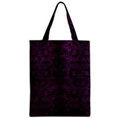 Damask2 Black Marble & Purple Leather Zipper Classic Tote Bag by trendistuff