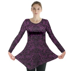 Damask2 Black Marble & Purple Leather Long Sleeve Tunic  by trendistuff