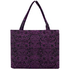 Damask2 Black Marble & Purple Leather (r) Mini Tote Bag by trendistuff