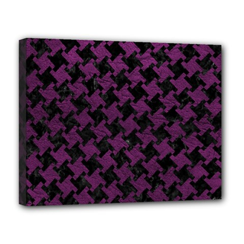 Houndstooth2 Black Marble & Purple Leather Canvas 14  X 11  by trendistuff