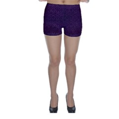 Hexagon1 Black Marble & Purple Leather Skinny Shorts