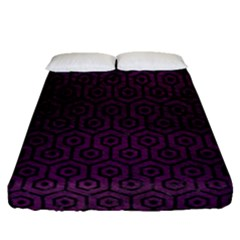 Hexagon1 Black Marble & Purple Leather Fitted Sheet (queen Size) by trendistuff