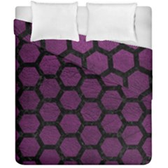 Hexagon2 Black Marble & Purple Leather Duvet Cover Double Side (california King Size) by trendistuff