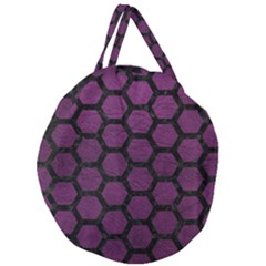 Hexagon2 Black Marble & Purple Leather Giant Round Zipper Tote by trendistuff