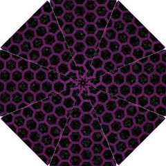 Hexagon2 Black Marble & Purple Leather (r) Hook Handle Umbrellas (small) by trendistuff