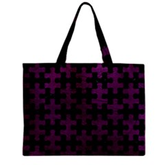 Puzzle1 Black Marble & Purple Leather Zipper Mini Tote Bag