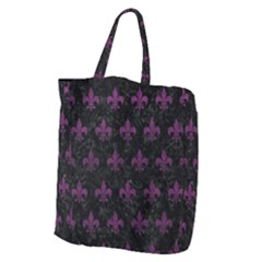 Royal1 Black Marble & Purple Leather Giant Grocery Zipper Tote by trendistuff