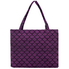 Scales1 Black Marble & Purple Leather Mini Tote Bag by trendistuff