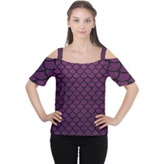 Scales1 Black Marble & Purple Leather Cutout Shoulder Tee by trendistuff
