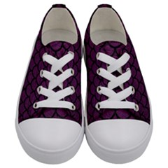 Scales1 Black Marble & Purple Leather Kids  Low Top Canvas Sneakers