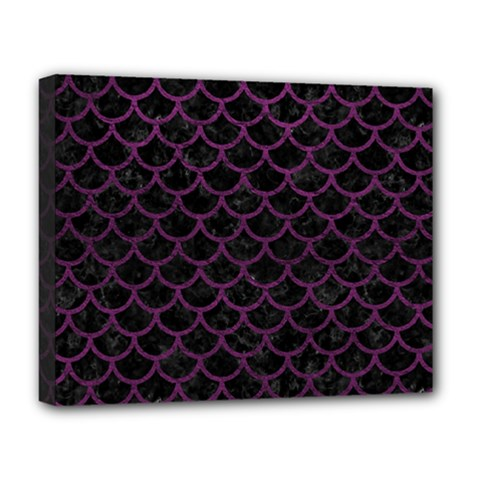 Scales1 Black Marble & Purple Leather (r) Deluxe Canvas 20  X 16   by trendistuff