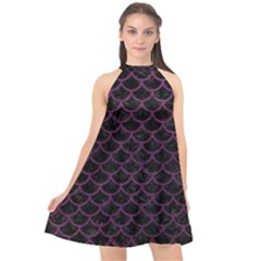 Scales1 Black Marble & Purple Leather (r) Halter Neckline Chiffon Dress