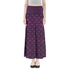 Scales2 Black Marble & Purple Leather Full Length Maxi Skirt