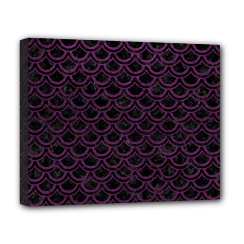 Scales2 Black Marble & Purple Leather (r) Deluxe Canvas 20  X 16   by trendistuff