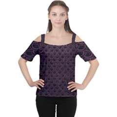 Scales2 Black Marble & Purple Leather (r) Cutout Shoulder Tee by trendistuff