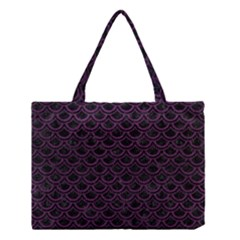 Scales2 Black Marble & Purple Leather (r) Medium Tote Bag