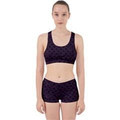 Scales2 Black Marble & Purple Leather (r) Work It Out Sports Bra Set