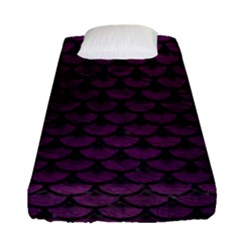 Scales3 Black Marble & Purple Leather Fitted Sheet (single Size) by trendistuff