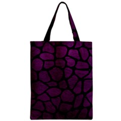 Skin1 Black Marble & Purple Leather (r) Zipper Classic Tote Bag by trendistuff