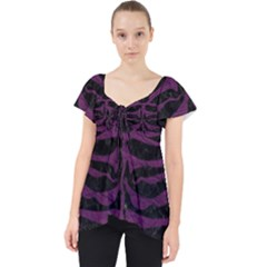 Skin2 Black Marble & Purple Leather (r) Lace Front Dolly Top