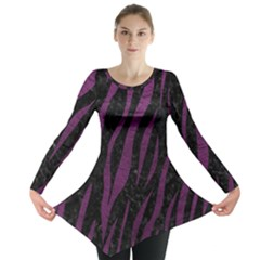Skin3 Black Marble & Purple Leather (r) Long Sleeve Tunic  by trendistuff