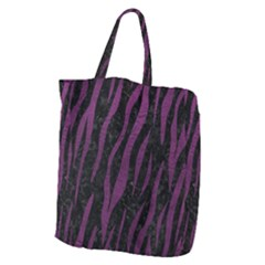 Skin3 Black Marble & Purple Leather (r) Giant Grocery Zipper Tote by trendistuff