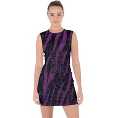 Skin3 Black Marble & Purple Leather (r) Lace Up Front Bodycon Dress