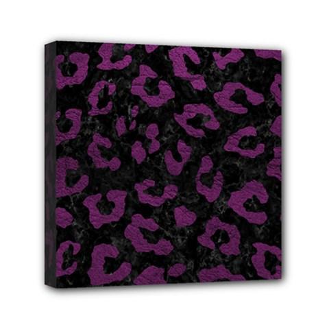 Skin5 Black Marble & Purple Leather Mini Canvas 6  X 6  by trendistuff