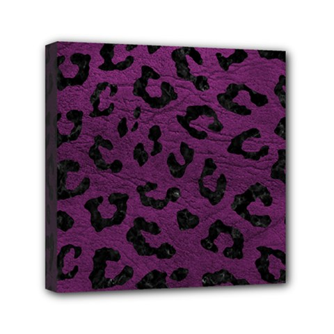 Skin5 Black Marble & Purple Leather (r) Mini Canvas 6  X 6  by trendistuff