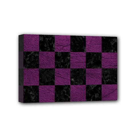 Square1 Black Marble & Purple Leather Mini Canvas 6  X 4  by trendistuff