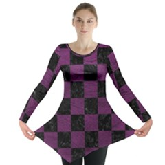 Square1 Black Marble & Purple Leather Long Sleeve Tunic  by trendistuff