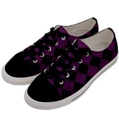 Square2 Black Marble & Purple Leather Men s Low Top Canvas Sneakers by trendistuff