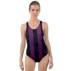 Stripes1 Black Marble & Purple Leather Cut Out Back One Piece Swimsuit