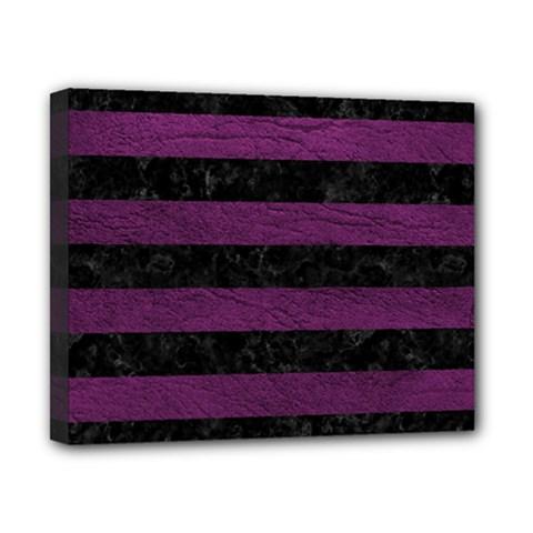 Stripes2 Black Marble & Purple Leather Canvas 10  X 8  by trendistuff