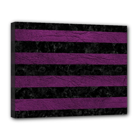 Stripes2 Black Marble & Purple Leather Canvas 14  X 11  by trendistuff